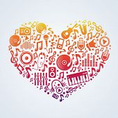 foto of heart sounds  - Vector music concept  - JPG