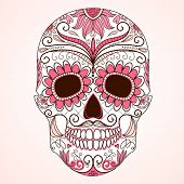 foto of sugar skulls  - Day of The Dead colorful Skull with floral ornament - JPG