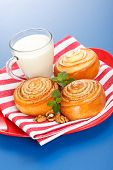 Three Cinnamon Rolls And Jug Of Milk On Red Plate