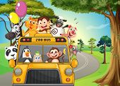 image of ape  - Illustration of a bus full of zoo animals - JPG