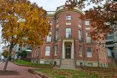 WASHINGTON DC - NOV 12: The Octagon House Museum is located at New York Avenue, Northwest in the Fog
