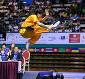 KUALA LUMPUR - NOV 03: Brazil's Henry Yuji Nakata executes a high kick in the Men's 'Daoshu' Event a
