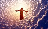 stock photo of crucifixion  - Jesus prays in the clouds - JPG