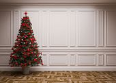foto of reconstruction  - classic interior with a Christmas tree  - JPG