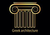 picture of ionic  - vector illustration of Greek golden column symbol - JPG