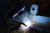 stock photo of welding  - Welding Steel Structure on Structure in Factory - JPG