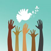 stock photo of hand god  - Dove of peace with multicultural hands  - JPG