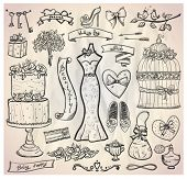 stock photo of embellish  - Wedding bridal graphic set with cake - JPG