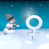 Snowman With Magic Wand And Woman Sign