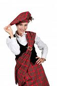 stock photo of kilt  - Woman wearing a kilt - JPG