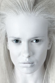 image of wraith  - Fashion portrait of mysterious albino woman ghost - JPG