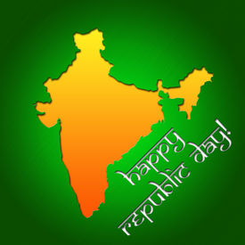 stock photo of asoka  - Graphic design Republic Day in India related in shape of country silhouette - JPG