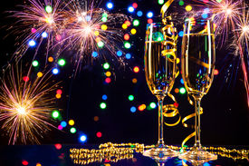 image of champagne color  - Champagne glasses with fireworks on background - JPG