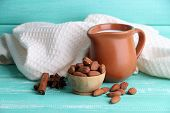 picture of jug  - Almond milk in jug with almonds in bowl - JPG