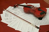 picture of mozart  - Violin and notes on the brown wooden table - JPG