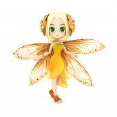 picture of faerie  - Cute toon fairy posing on a white background - JPG