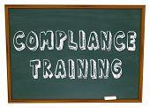 Compliance Training Words Chalkboard Learn Follow Rules poster