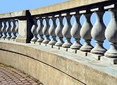 image of balustrade  - The balustrade protecting a terrace against the blue sky - JPG