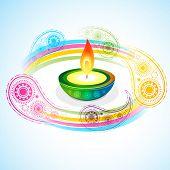 picture of diya  - vector beautiful diwali diya backgroound - JPG