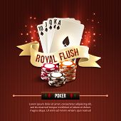 picture of flashing  - Pocker casino gambling set with cards chips and royal flash ribbon on red background vector illustration - JPG