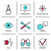 picture of video chat  - Flat line icons set of technical service and support video communication plug connection future vision and exploration elements - JPG