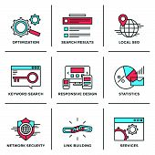 picture of line  - Flat line icons set of website search engine optimization seo analytics network security keyword management webpage traffic development - JPG