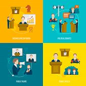 pic of minister  - Public speaking flat icons set of business presentation political debates figure speech isolated vector illustration - JPG