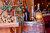 Постер, плакат: Italian Winery With Bottle And Bottle Of Wine