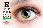 foto of exams  - Womans eye and eyesight vision exam chart - JPG