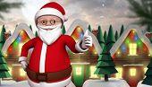 picture of quaint  - Cute cartoon santa claus against quaint town with bright moon - JPG