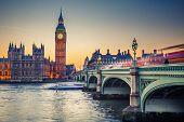 picture of westminster bridge  - Big Ben and Westminster bridge at dusk - JPG