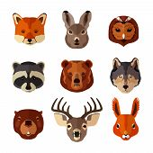 foto of hare  - Forest animal portrait flat icons set with fox hare owl isolated vector illustration - JPG