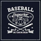stock photo of bat wings  - College baseball team emblem graphic design for t - JPG