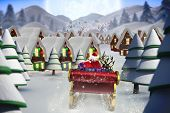 image of quaint  - Santa flying his sleigh against quaint town with bright moon - JPG