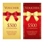 foto of exclusive  - Exclusive vertical gold and red voucher with ribbon and swirl pattern - JPG