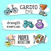 foto of cardio exercise  - Fitness cardio strength exercises proper nutrition colored sketch horizontal banner set isolated vector illustration - JPG