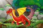 foto of jungle  - Illustration of a dragon in a jungle - JPG