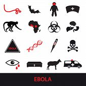 pic of hemorrhage  - black and red ebola disease icons set eps10 - JPG