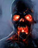 foto of possess  - Skeleton zombie face with fire eyes illustration - JPG