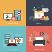 pic of malware  - Computer repair and  antivirus protection software installation service flat icons infographics with laser toner isolated vector illustration - JPG