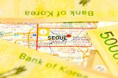 stock photo of won  - South Korea Won Cash for Korea travel - JPG