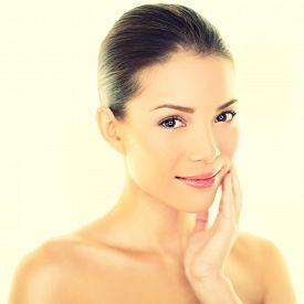 stock photo of japanese woman  - Woman beauty skincare woman touching perfect skin on face - JPG