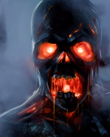 stock photo of underworld  - Skeleton zombie face with fire eyes illustration - JPG