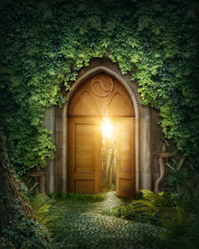 foto of surrealism  - Mysterious entrance to new life or beginning - JPG