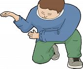 image of kneeling  - Cartoon of kneeling European man with hands working on something - JPG
