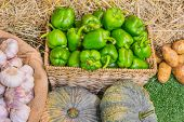 picture of sag  - close up shot of garlic and green chili in basket image - JPG