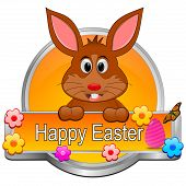 image of bunny easter  - decorative orange easter bunny wishing happy easter button - JPG