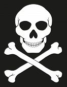 stock photo of skull crossbones flag  - pirate skull and crossbones vector illustration isolated on white background - JPG