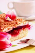 foto of cherry pie  - Cup of coffee with a cherry cake on a white plate - JPG