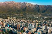 stock photo of andes  - Panoramic view of Santiago de Chile and Los Andes mountain range - JPG
